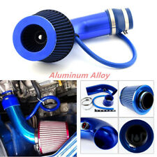 Alumimum Alloy 3'' Car SUV Blue Cold Induction Air Intake Pipe Kit + Air Filter