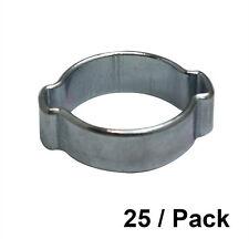 25/PK 9-11 mm Zinc Plated Double Ear Steel Automotive/Hand Tool Hose Clamp