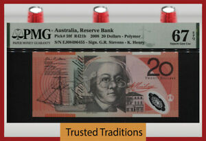 TT PK 59f 2008 AUSTRALIA RESERVE BANK 20 DOLLARS PMG 67 EPQ SUPERB GEM UNC!