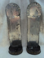 Rare  Antique Decorated Painted Tin Tole Pair Sconces Candle Holders 14""
