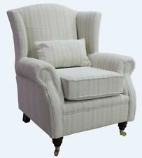 Ashley Wing Chair Fireside High Back Armchair Tempo Natural Beige Cream Stripe
