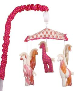 Musical Mobile Baby Girl Nursery Floral Heart Animal Polka Dot Pink Blue Purple