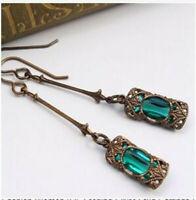 Turkish Handmade 925 Silver Earrings Emerald Ear Stud Hoop Dangle Wedding Gift