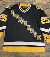 Vtg 90s Kevin Stevens Pittsburgh Penguins Starter Jersey Sz XL NHL Black Rare!