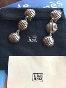 Authentic Vintage Lisa Jenks Sterling Silver Modernist 3 Circle Clip On Earrings