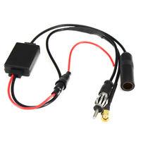 Universal DAB FM AM Car Antenna Aerial Splitter Cable Digital Radio + Amplifier