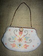 1930s pastel & pearl flowers Beaded Purse. Hand made in France for Jorelle Bags
