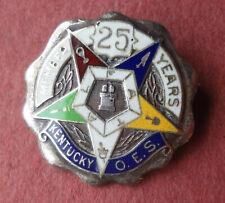 Vintage KENTUCKY OES enameled 25 YEAR MEMBER PIN -STERLING SILVER - EASTERN STAR