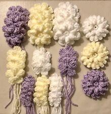 NEW MIXES HANDMADE CROCHET FLOWERS WHITE LEMON LILAC