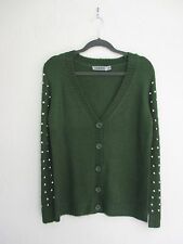 $58 Nasty Gal Spiked Knit Cardigan Sweater Olive Green Army Khaki S M Oversized