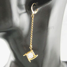 "CZ STONE SQUARE PATTERN DANGLE 2.64"" EARRING 18K YELLOW GOLD GP OVERLAY PLATED"