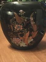 Vtg Shibata Style Japanese Vase Glossy Black Asian Vase w/ Gold Floral & Peacock
