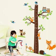 Removable Art Home Kids Height Chart Measure Decor Wall Sticker Owl Hedgehog Fox
