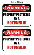 "2 Count ""Warning Property Protected by a Rottweiler"" Laminated Dog Sign w/Decal"