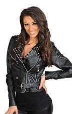 Most Popular Biker Leather Jacket Diane Black Womens Fitted Belted Studded Coat 10