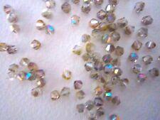 100 Austrian Crystal Glass Bicone Beads -Grey/Stone AB- 4mm