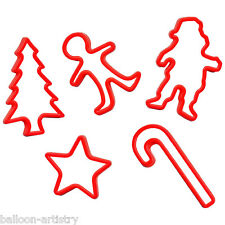 5 Noël Fête Santa Star Arbre Rouge Plastique Biscuit Cookie cutters