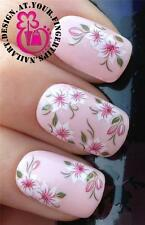 NAIL ART WRAPS WATER TRANSFERS STICKERS DECALS SET PINK WHITE LILLY FLOWERS #408