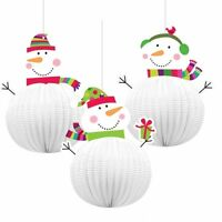 3 3D CHRISTMAS JOYFUL SNOWMAN HANGING  DECORATION 20.3CM CEILING DECORATIONS