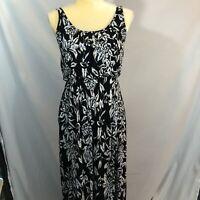 Loft Women's Maxi Dress Medium White Black Blue Floral Sleeveless Long EUC