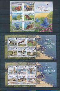 XC57980 Alderney butterflies birds wildlife sheets MNH