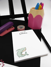 Personalised Shark Notepad. Personalised jotter pad A6, Shark Desk pad