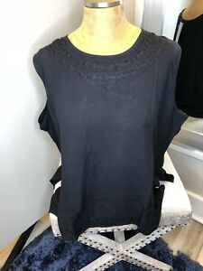Boho Chic Rayon Embroidered Top Plus Size 2 NWT Classic Black Finer Fabulous