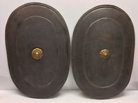 2 Antique Primitive Metal Combat Shields Childs Toys From Boiler Pot Lid N5