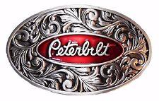 PETERBILT Logo Vintage Style Antique Pewter Finish Metal/Enamel BELT BUCKLE