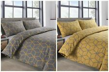 Two Pack Ochre Yellow & Grey Geo 3D Duvet Cover & Pillowcase Bedding Sets