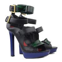 Alexander McQueen Black Blue Emerald Marble Lacquer Shoes Heels Sandals IT36 UK3