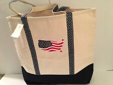 Red White Blue Flag Lg beach canvas tote bag stars Embroidered beige tan Usa New
