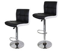 2 Black/White PU Leather Modern Adjustable Swivel Barstools Hydraulic Bar Stools