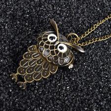 Owl With Wing Steampunk Retro Bronze Pocket Watch Quartz Necklace Pendant