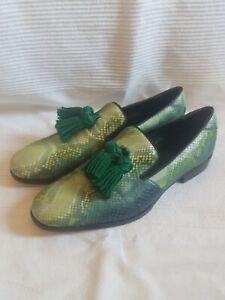 Jimmy Choo Men's green snake skin slip on shoes with tassles. US 43 or size 10