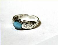 Liebevoller Blauer Dominikanischer Larimar Ring 925 Sterling Silber #56