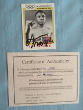 SIGNED ORIGINAL W/COA BOXING JOE FRAZIER FINDER GREATEST OLYMPIANS BOXING CARD