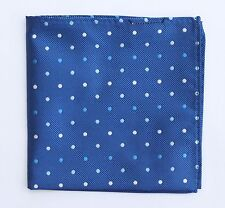 Hankie Pocket Square Handkerchief Blue with White & Blue Spot