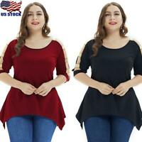 Plus Size Women Hollow Short Sleeve Tunic Tops Ladies Casual Irregular Shirt US