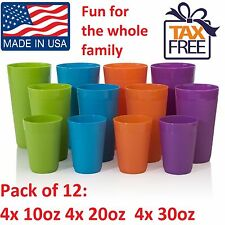 12 Plastic Tumbler Drinking Set 32 20 10 oz Glasses Water Soda Tea Juice Cup NEW