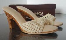 KARVINGS WOMEN'S SANDALS TAN HAND CARVED WOOD CARVING WOMEN SHOES Size US 7