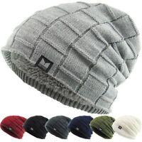 Slouch Baggy Box Knit Beanie Sherpa Fleece Lined Ski Hat Winter Skully Kbethos