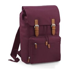 Burgundy Vintage Laptop Bag Backpack Rucksack Case School Work College Briefcase