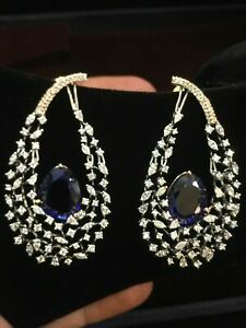 21.35 Cts Round Marquise Cut Diamonds Sapphire Dangle Earrings In 585 14K Gold