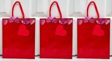 Set of 3 Hallmark Medium Red Purple Shimmer Heart Gift Bag with Rope Handles