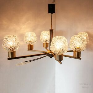Vintage MCM Gold & Black 6 Arm Ceiling Light Fixture with Faceted Glass Shades