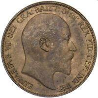 1907 PENNY - EDWARD VII BRITISH BRONZE COIN - SUPERB