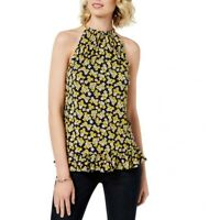 MICHAEL KORS NEW Women's Navy/yellow Printed Chain-neck Blouse Shirt Top S TEDO