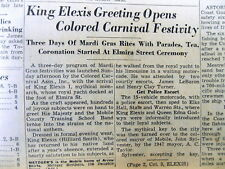 8 1948 MOBILE Alabama newspapers MOBILE MARDI GRAS Separate for Whites & Blacks
