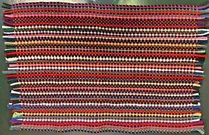 "Handmade Rag Rug/Doormat/Floor mat Colorful 17"" x 24"" Recycled Material"